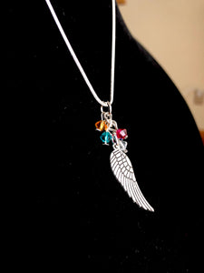 Angel wing necklace with swarovski - Mystery Art & Jewelry