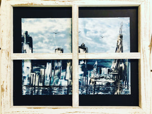 Chicago Skyline Encaustic Artwork - Original Beeswax Painting