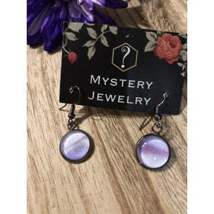 Encaustic Earrings 'purple sky' - Mystery Art & Jewelry