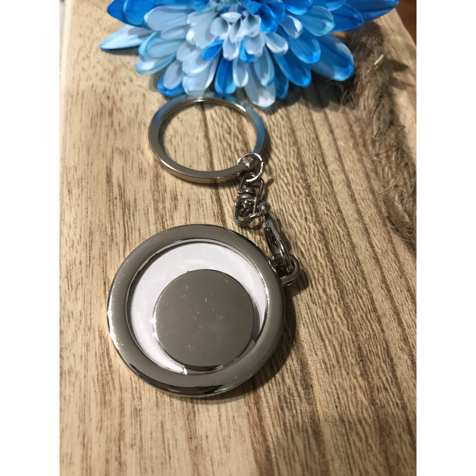 Encaustic keychain blue sky - Mystery Art & Jewelry