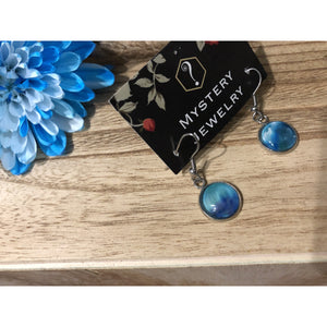 Encaustic Earrings 'The great lakes' - Mystery Art & Jewelry