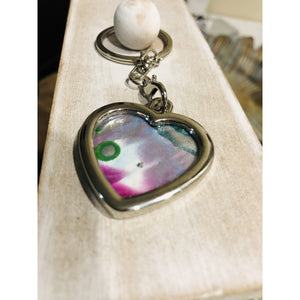 Encaustic keychain 'sweetheart' - Mystery Art & Jewelry