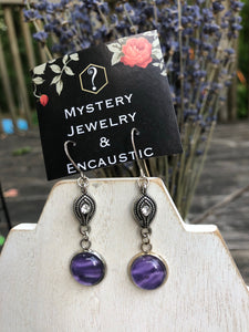 Encaustic Earrings purple dream