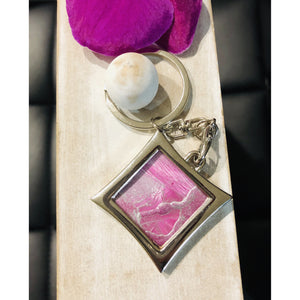 Encaustic keychain - Mystery Art & Jewelry