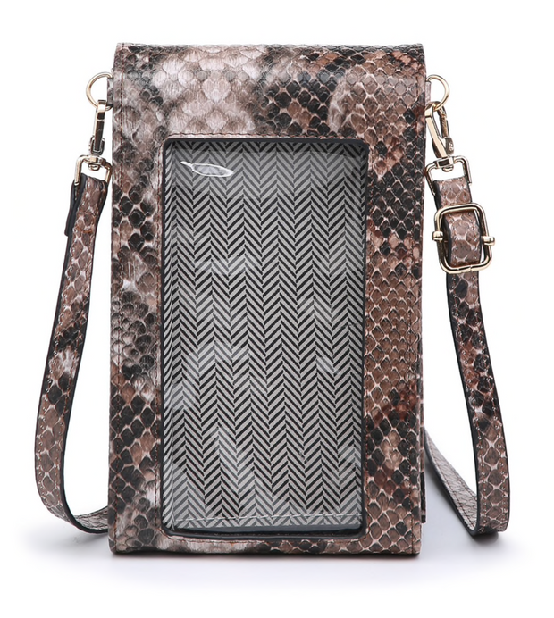 Ayla Touch Screen Crossbody - Python Khaki/Grey