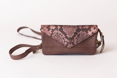 Signature Crossbody - Chocolate/Rose Gold Multi Python