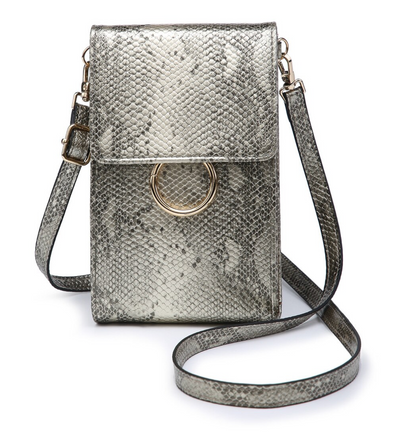 Ayla Touch Screen Crossbody - Python Champagne