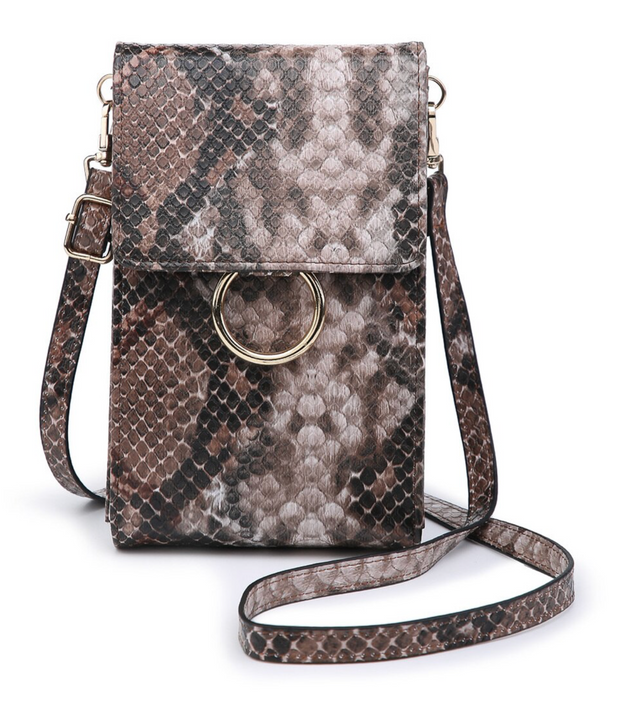 Ayla Touch Screen Crossbody - Python Coffee/Brown