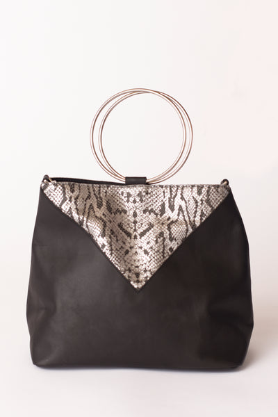 Signature Satchel - Black/Black and Silver Python