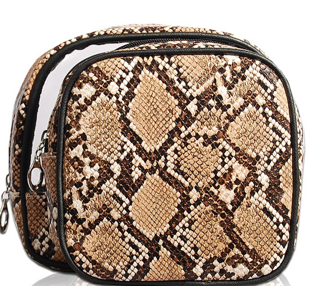 Gina 2 in 1 Cosmetic Bag - Brown Python