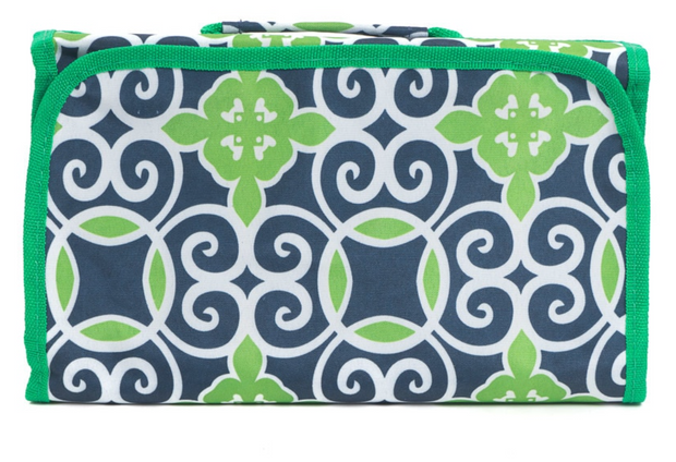 Roll Up Cosmetic Bag - Green Vines