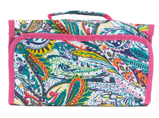 Roll Up Cosmetic Bag - White Paisley