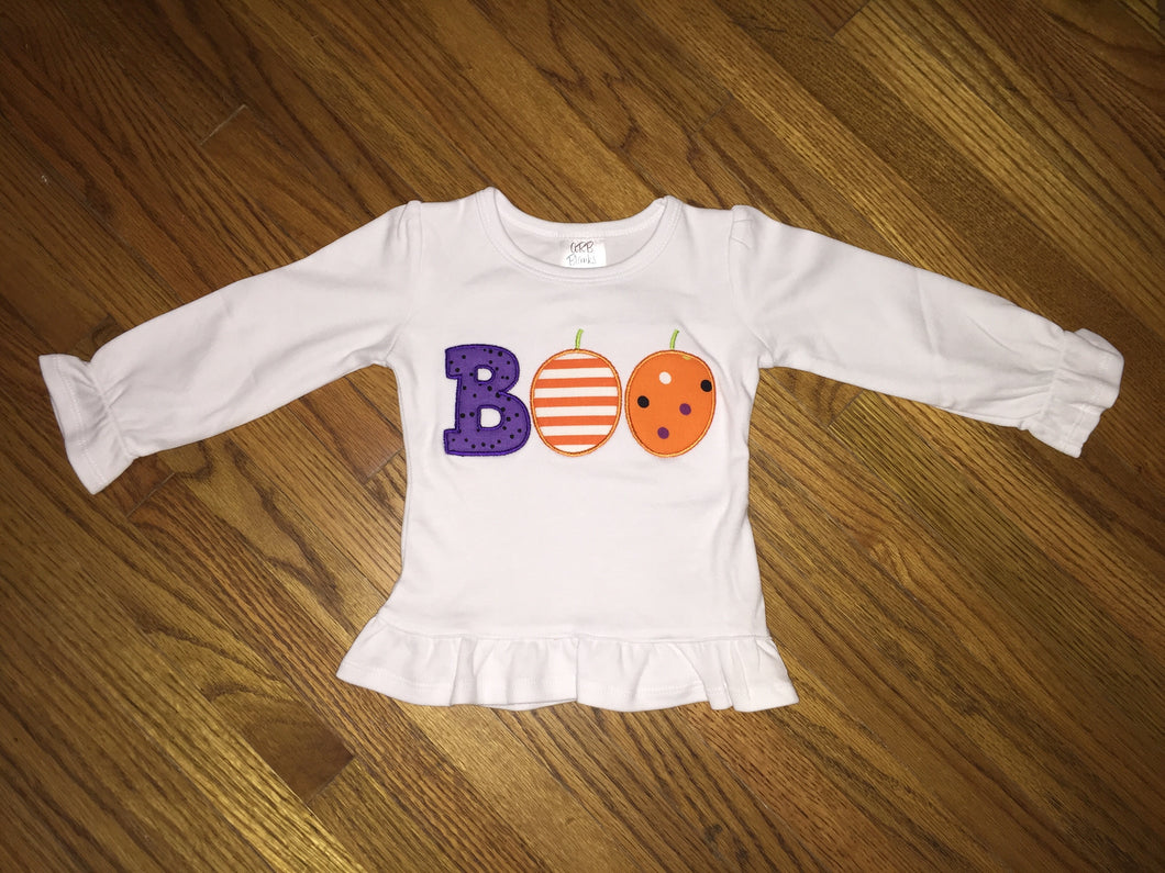 BOO Applique Ruffle Shirt