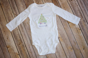 Embroidered Christmas Tree Bodysuit