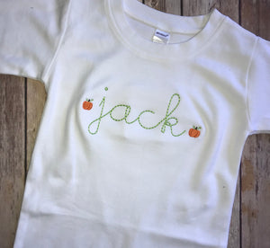 Pumpkin Name Stitch Romper