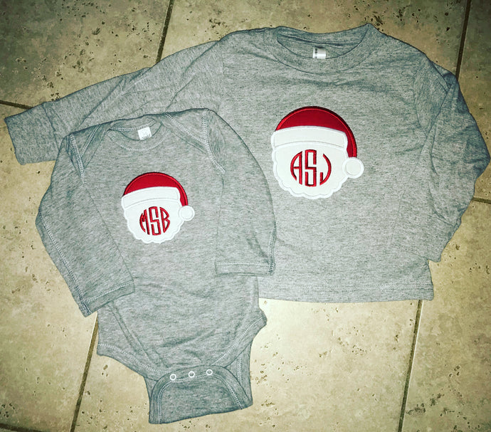 Santa Monogram Applique Shirt/Bodysuit