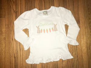 Girl's Embroidered Bunny Shirt/Bodysuit
