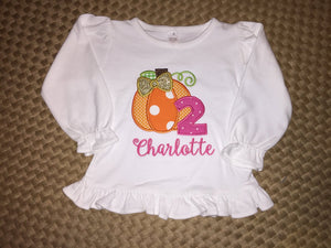 Girls Ruffle Pumpkin Birthday Shirt
