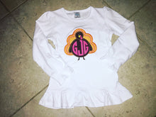 Load image into Gallery viewer, Girl's Monogram Turkey Shirt