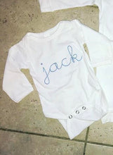 Load image into Gallery viewer, Vintage Stitch Cursive Name Bodysuit