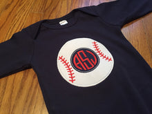 Load image into Gallery viewer, Baseball Monogram Bodysuit