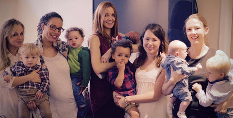 Pregnant with Lexi in late October, picture with friends and our children