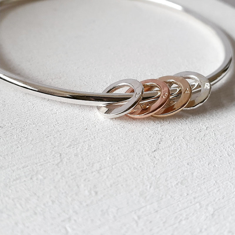 The Miram Bangle - Sterling Silver With Personalised Halos