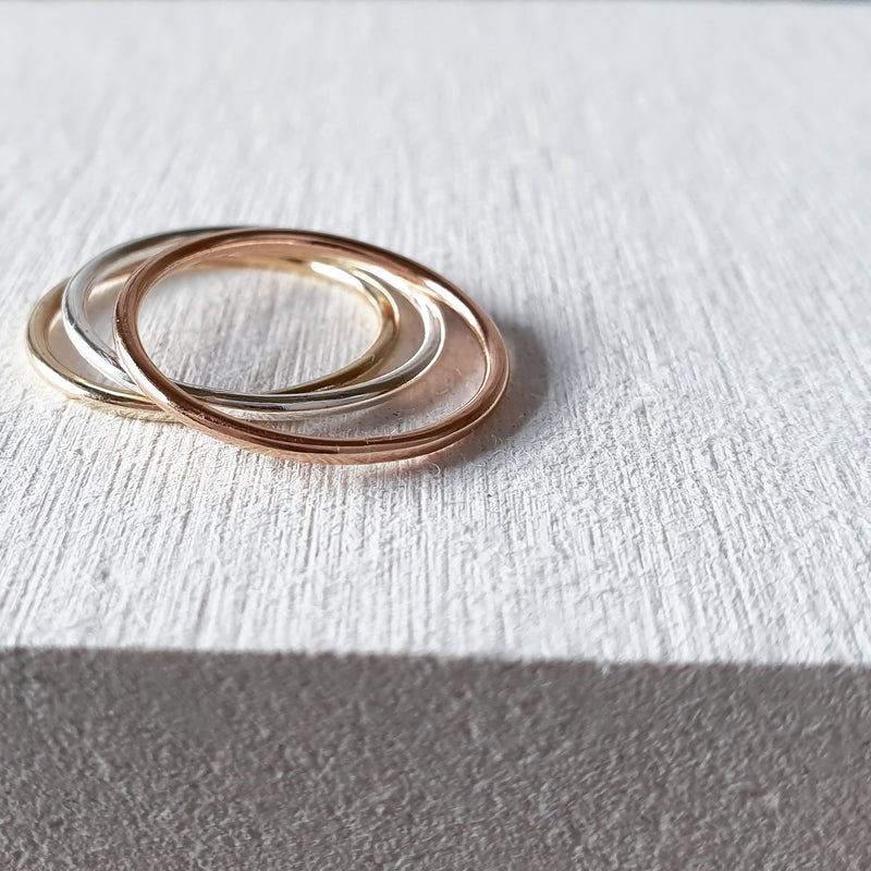 The Skinny Chara Mixed Metal Stacking Ring Set