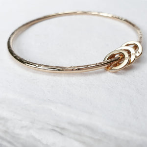 The Miram Textured Bangle - 9ct Gold With Personalised Halos