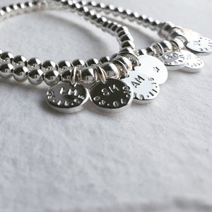 Naos Sterling Silver Bracelet with Personalised Discs & Elastic Finish