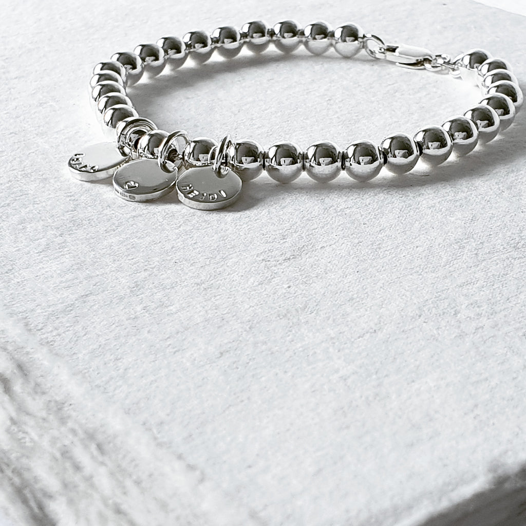 Naos Sterling Silver Bracelet with Personalised Discs & Clasp Finish