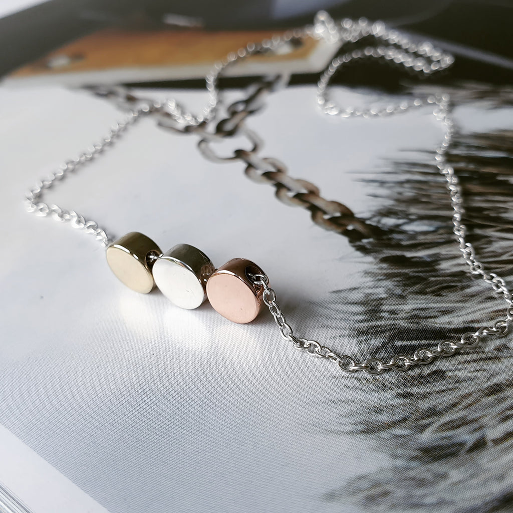The Vela Necklace - Mixed Metal Trio Of Tiny Dots