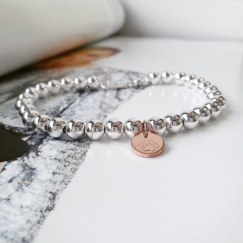 Naos Mixed Metal Bracelet with Personalised Discs & Elastic Finish
