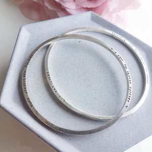 The Spica Bangle - Personalised Sterling Silver With Secret Message