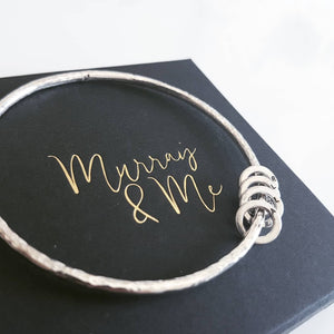 The Miram Textured Bangle - Sterling Silver With Personalised Halos