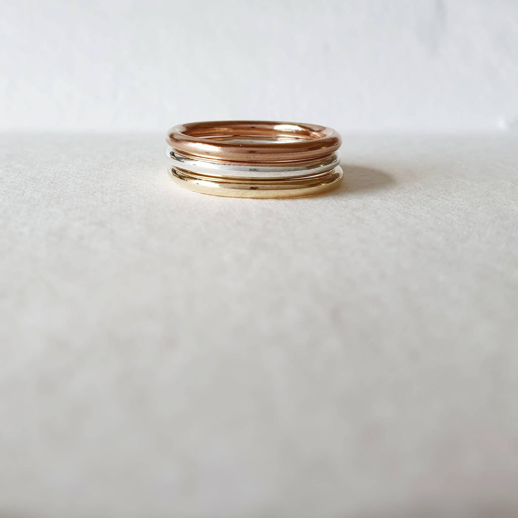 The Chunky Chara Mixed metal ring stack