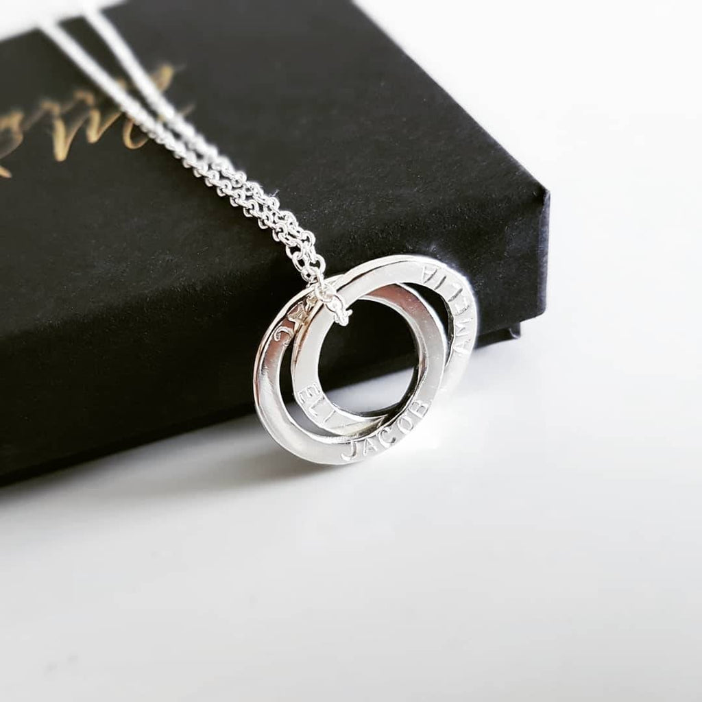 The Sarin Necklace- Personalised Sterling Silver Interlocked Halos