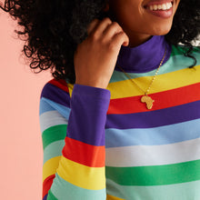 Load image into Gallery viewer, The Evie Rainbow Stripe High Neck Top