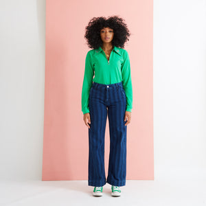 Saturday By Megan Ellaby Margot Long Sleeve Dagger collar Green