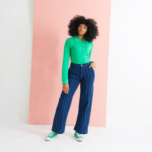 Saturday By Megan Ellaby Margot Long Sleeve Polo Top with Dagger collar inGreen
