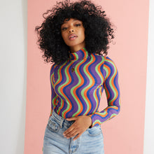 Load image into Gallery viewer, The Marianne Wavy Stripe High Neck Top