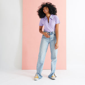 Saturday By Megan Ellaby Margot Polo Top Lilac