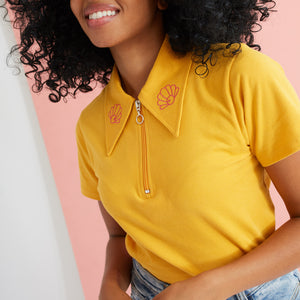 The Margot Dagger Collar Polo Top