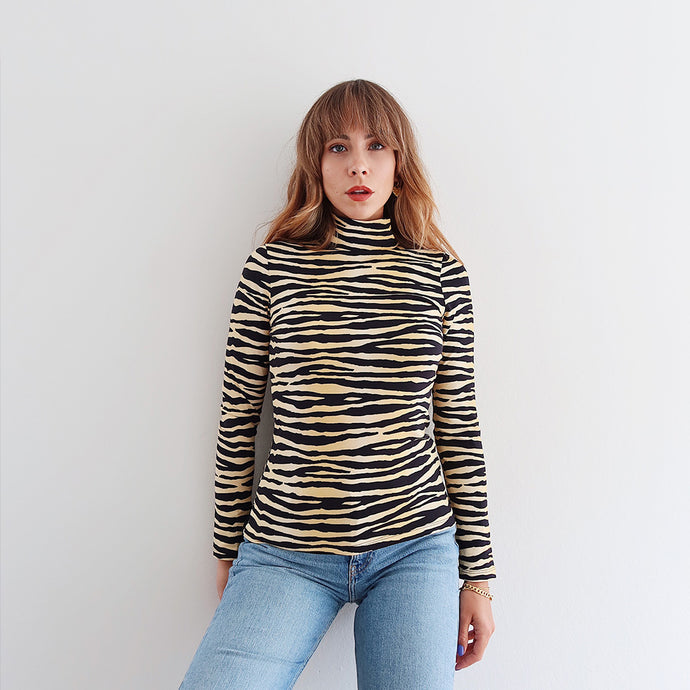 The Janey Tiger Print High Neck Top