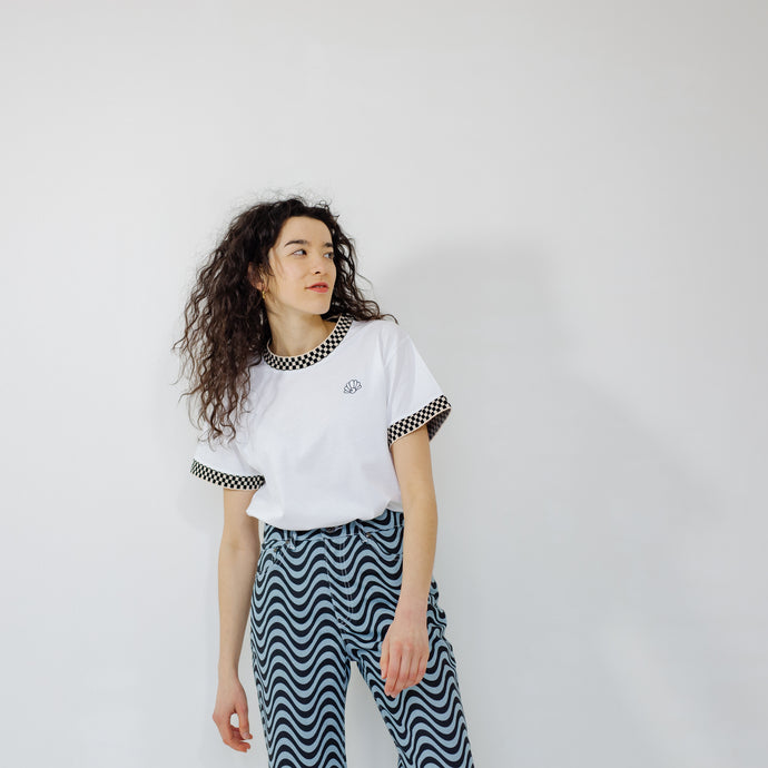 The Lennie Checkerboard Tipping Oversized T-Shirt