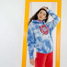 Load image into Gallery viewer, Saturday By Megan Ellaby Primrose Hoodie Blue tie-dye and flower motif £60