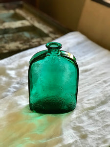 Vintage Glass Decanter - green