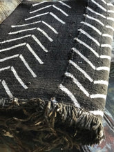 Vintage African Black Mudcloth with White chevrons