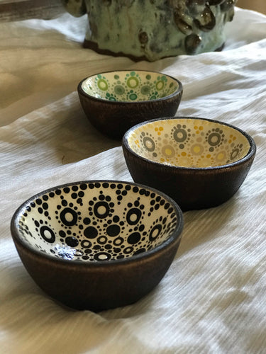 Hand Painted Mini Wood Bowl | Black