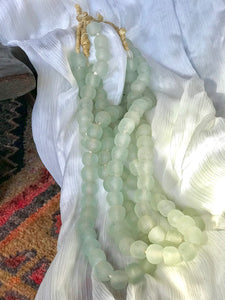 African Sea glass Beads | mint